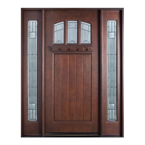 Wood entry door with sitelites golden aero wooden for Wood entry door manufacturers